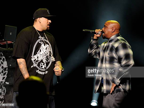 Rappers BReal and Sen Dog of Cypress Hill perform onstage at Help Haiti with George Lopez Friends at LA Live's Nokia Theater on February 4 2010 in...