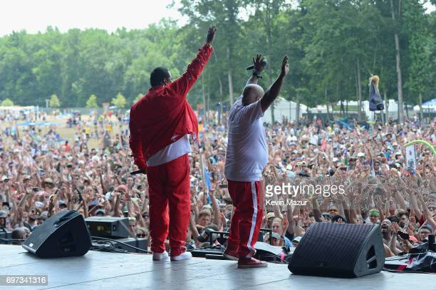 Rappers Busta Rhymes and Spliff Star perform onstage during the 2017 Firefly Music Festival on June 18 2017 in Dover Delaware