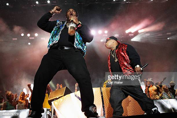 Rappers Busta Rhymes and Spliff Star perform with Girl Talk onstage during day 1 of the 2014 Coachella Valley Music Arts Festival at the Empire Polo...