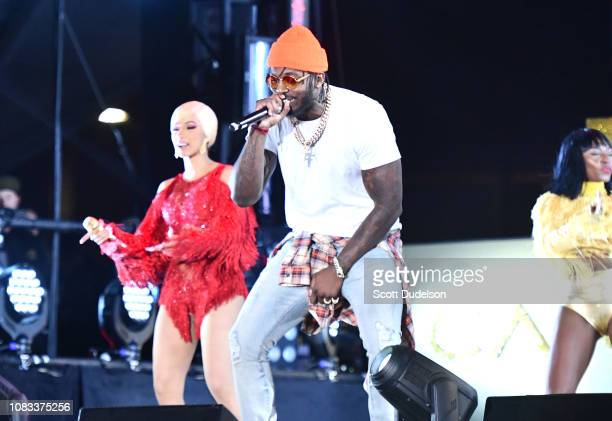 Rappers Cardi B and Pardison Fontaine perform onstage during day 2 of Rolling Loud Festival at Banc of California Stadium on December 15 2018 in Los...