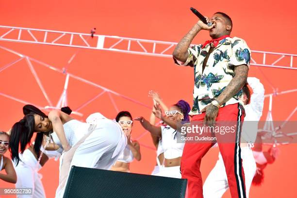 Rappers Cardi B and YG perform onstage during week 1 day 3 of the Coachella Valley Music And Arts Festival on April 15 2018 in Indio California