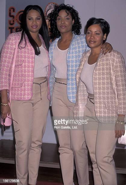 Rappers Cheryl Salt James Sandra Pepa Denton and Deidra Roper attending 10th Annual Soul Train Music Awards on March 29 1996 at the Shrine Auditorium...