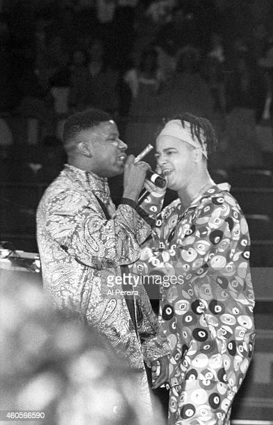 Rappers Christopher Kid Reid and Christopher Play Nolan of Kid 'n Play perform onstage during The World's Greatest Rap Show Ever on January 3 1992 at...