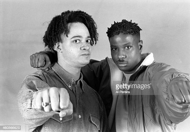Rappers Christopher Kid Reid and Christopher Play Nolan of the hiphop group Kid 'n Play pose for a portrait in circa 1990 in New York New York