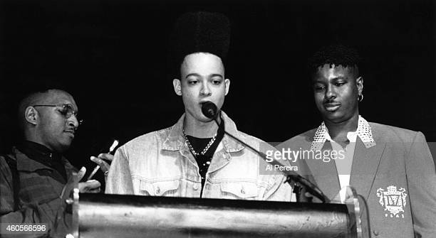 Rappers Christopher Kid Reid Christopher Play Nolan and Mark DJ Wiz Eastmond of the hiphop group Kid 'n Play attend an event in circa 1992 in New...