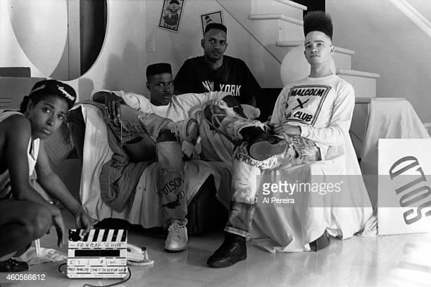 Rappers Christopher Kid Reid Christopher Play Nolan and Mark DJ Wiz Eastmond of the hiphop group Kid 'n Play on the set of the video for their song 2...