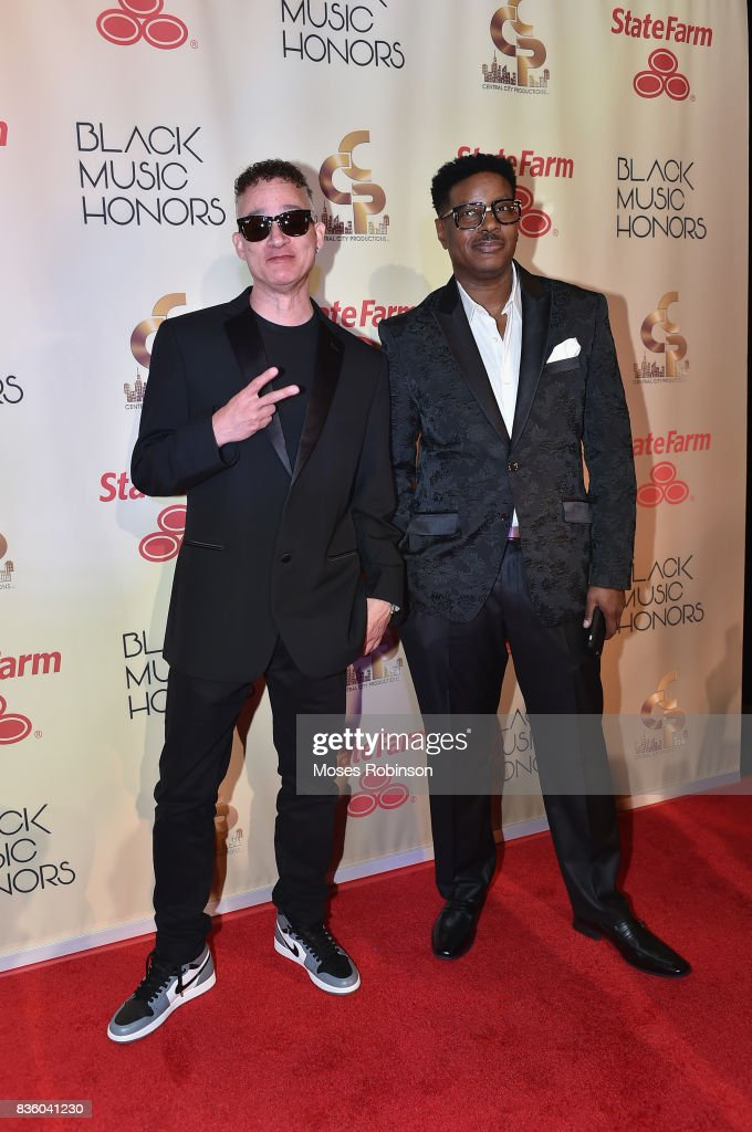 Rappers Christopher Reid (L) and Christopher Martin (R) of Kid N Play arrives at the 2017 Black Music Honors at Tennessee Performing Arts Center on August 18, 2017 in Nashville, Tennessee.