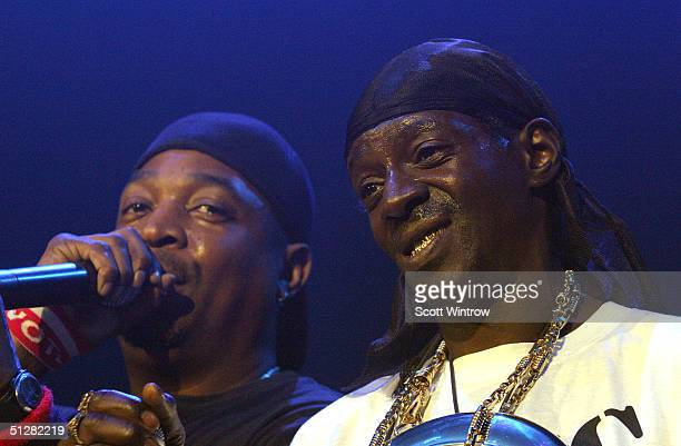 Rappers Chuck D and Flava Flav of Public Enemy perform at Maxim Magazine's Music Issue Party during Olympus Fashion Week Spring 2005 on September 9...