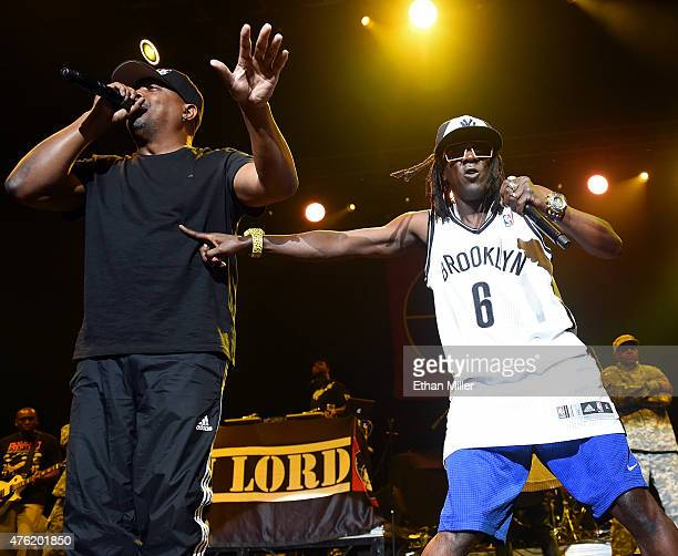 Rappers Chuck D and Flavor Flav of Public Enemy perform at The Joint inside the Hard Rock Hotel Casino on June 6 2015 in Las Vegas Nevada