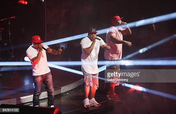 Rappers City Spud, Nelly and Ali of St. Lunatics perform at Drai's Beach Club - Nightclub at The Cromwell Las Vegas on June 25, 2016 in Las Vegas,...