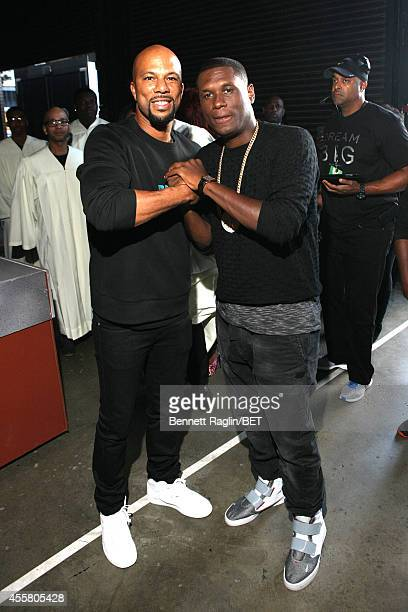Rappers Common and Jay Electronica pose backstage at the BET Hip Hop Awards 2014 at Boisfeuillet Jones Atlanta Civic Center on September 20 2014 in...