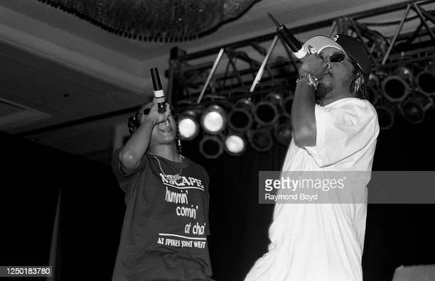 Rappers Da Brat and Jermaine Dupri performs at the Hyatt Hotel in Chicago, Illinois in June 1994.