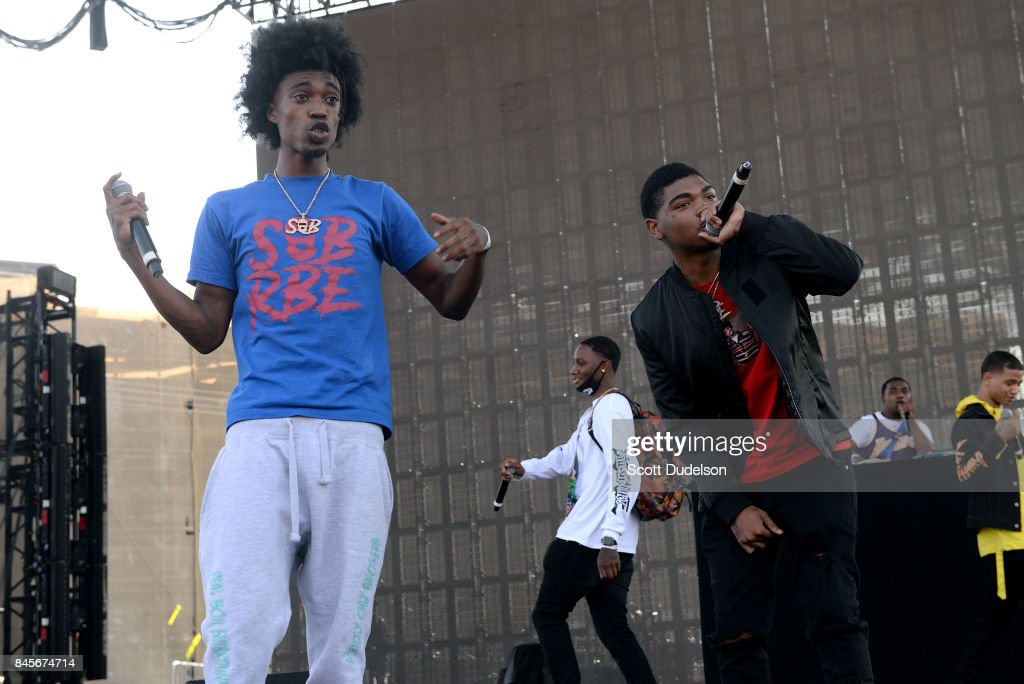 Rappers DaBoii, Slimmy B and Yhung T.O of the hip hop group SOB x RBE perform onstage during the Day N Night Festival at Angel Stadium of Anaheim on September 10, 2017 in Anaheim, California.