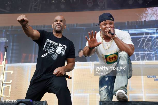 Rappers Darryl McDaniels and LL Cool J perform onstage during Day 2 at The Meadows Music & Arts Festival at Citi Field on September 16, 2017 in New...