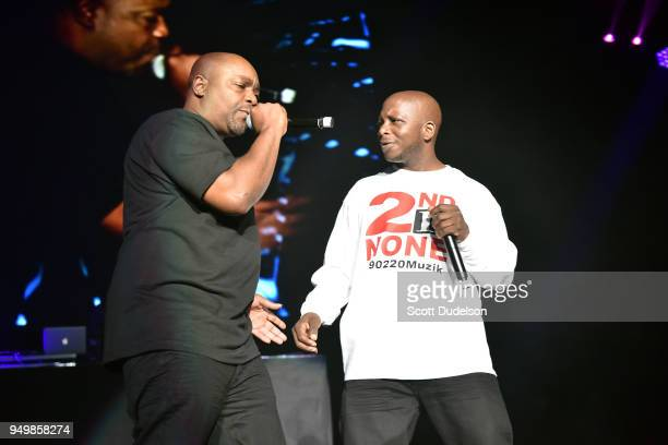 Rappers Deon Barnett and Kelton McDonald of the hip hop duo 2nd II None perform onstage during the KDay 935 Krush Groove concert at The Forum on...
