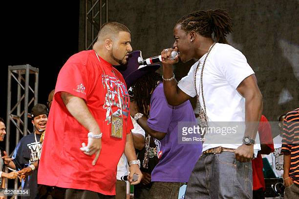 Rappers DJ Khaled and Ace Hood perform during the 3rd Annual Ozone Awards on August 11 2008 in Houston Texas