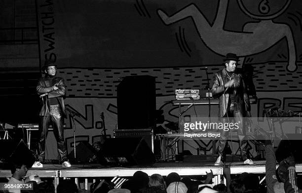 Rappers DMC and Run from Run DMC performs at the UIC Pavilion in Chicago Illinois in October1984