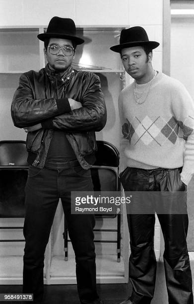 Rappers DMC and Run from Run DMC poses for photos backstage at the UIC Pavilion in Chicago Illinois in October1984