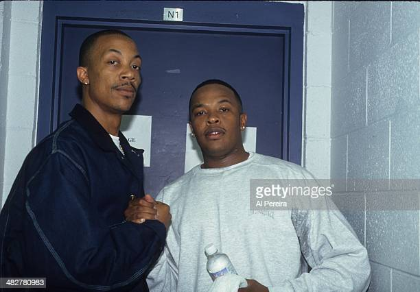 Rappers Dr Dre and DJ Pooh backstage at the Source Awards which were held at Madison Square Garden on August 3 1995 in New York New York