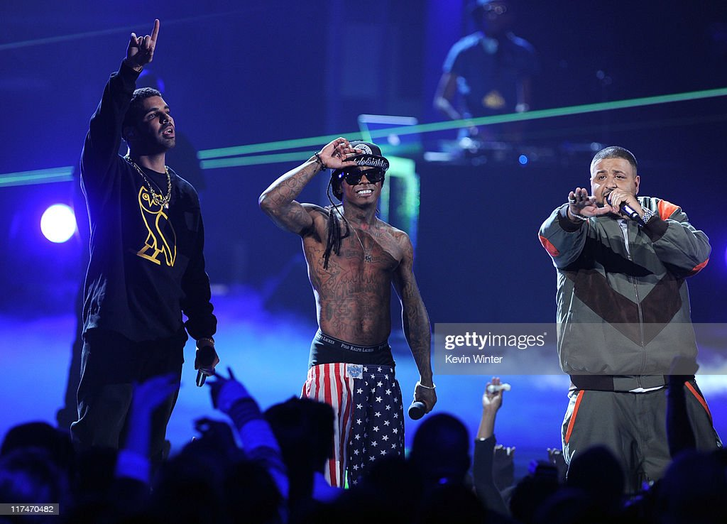 Rappers Drake, Lil Wayne, and DJ Khaled perform onstage during the BET Awards '11 held at the Shrine Auditorium on June 26, 2011 in Los Angeles, California.