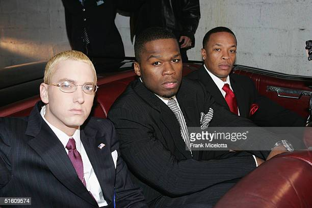 Rappers Eminem, 50 Cent and Dr. Dre arrive at the Shady National Convention to launch Shade 45, a new satellite radio station, at the Roseland...