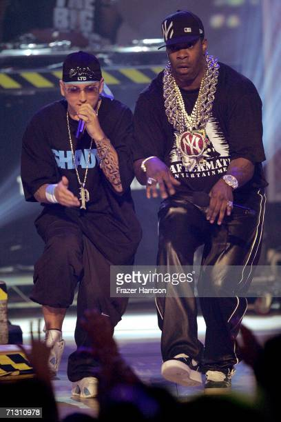 Rappers Eminem and Busta Rhymes perform onstage at the 2006 BET Awards at the Shrine Auditorium on June 27 2006 in Los Angeles California