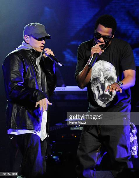 """Rappers Eminem and Jay-Z perform at the launch of """"DJ Hero"""" hosted by ActiVision held at The Wiltern on June 1, 2009 in Los Angeles, California."""