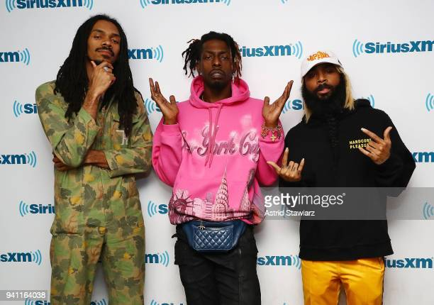 Rappers Erick Arc Elliott Meechy Darko and Zombie Juice of the rap group Flatbush Zombies perform during a taping of 'Hip Hop Nation' on Eminem's...