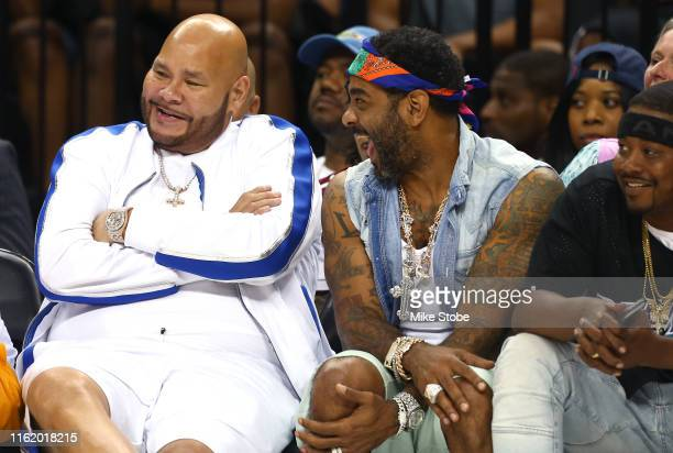 Rappers Fat Joe and Jim Jones look on during week four of the BIG3 three-on-three basketball league at Barclays Center on July 14, 2019 in the...