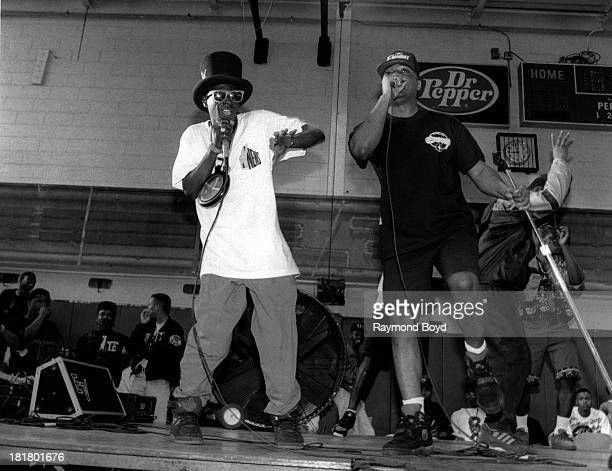 Rappers Flavor Flav and Chuck D of Public Enemy performs at the Henry Horner Youth Center in Chicago Illinois in JANUARY 1992
