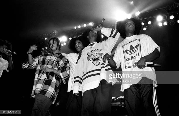 Rappers FleshNBone Bizzy Bone Layzie Bone Krayzie Bone and Wish Bone of Bone ThugsNHarmony performs at the International Amphitheatre in Chicago...