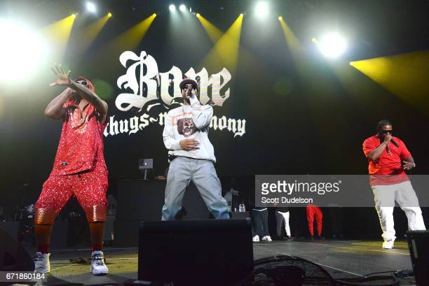 Rappers FleshnBone Krayzie Bone and Wish Bone of Bone Thugsn Harmony perform onstage during the 935 KDAY Krush Groove 2017 concert at The Forum on...