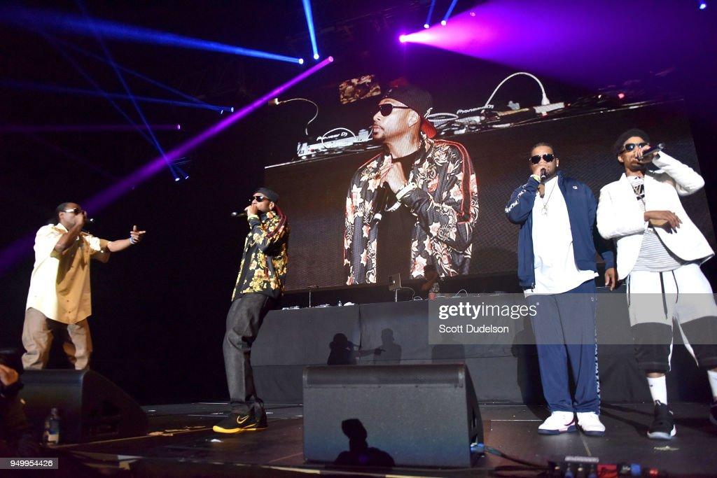 Rappers Flesh-n-Bone, Krayzie Bone, Wish Bone and Layzie Bone of Bone Thugs-n-Harmony perform onstage during the KDay 93.5 Krush Groove concert at The Forum on April 21, 2018 in Inglewood, California.