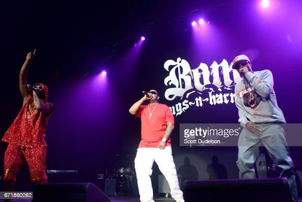 Rappers FleshnBone Wish Bone and Krayzie Bone of Bone ThugsnHarmony perform onstage during the 935 KDAY Krush Groove 2017 concert at The Forum on...
