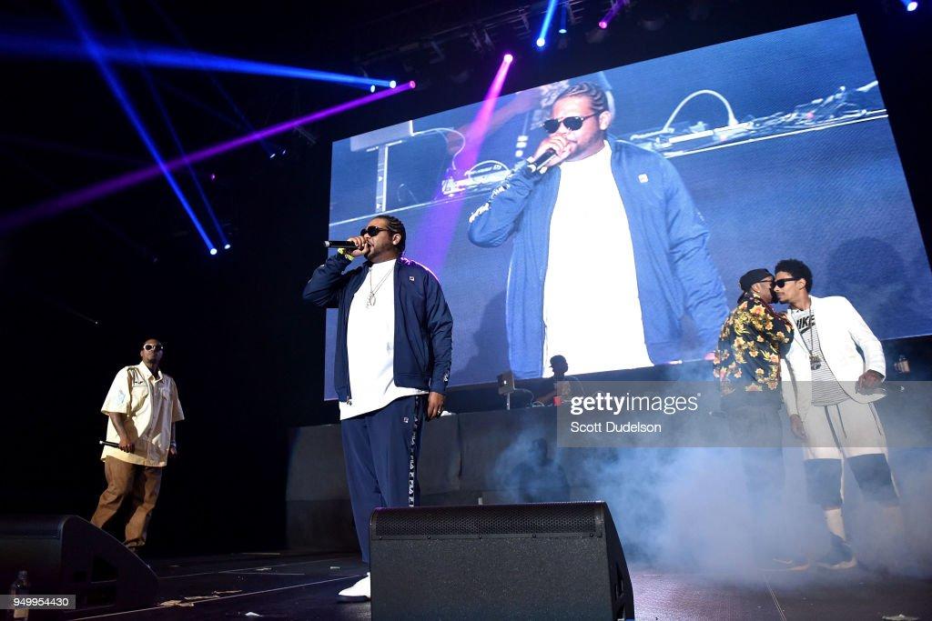 Rappers Flesh-n-Bone, Wish Bone, Krayzie Bone and Layzie Bone of Bone Thugs-n-Harmony perform onstage during the KDay 93.5 Krush Groove concert at The Forum on April 21, 2018 in Inglewood, California.