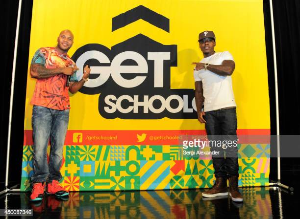 Rappers Flo Rida and Ace Hood seen as rapper Flo Rida joins Get Schooled Foundation as celebrity principal for a day at Miami Edison Middle School on...