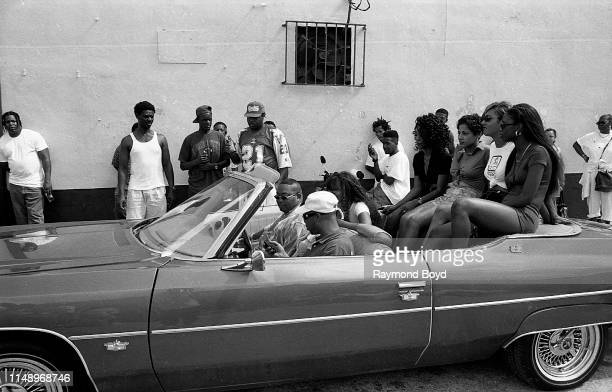 Rappers Fresh Kid Ice and Brother Marquis from 2 Live Crew gets ready for a 'driving scene' while on the set of their video 'Shake A Lil Somethin''...