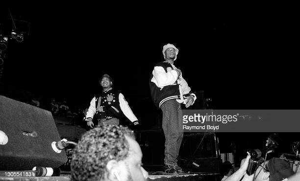 Rappers Fresh Kid Ice and Brother Marquis of 2 Live Crew performs at the International Amphitheatre in Chicago, Illinois in June 1990.