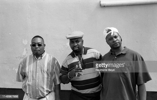 Rappers Fresh Kid Ice, Mr. Mixx and Brother Marquis from 2 Live Crew poses for photos while on the set of their video 'Shake A Lil Somethin'' in...