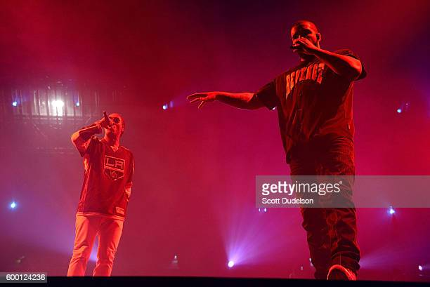 Rappers Future and Drake perform onstage at Staples Center on September 7 2016 in Los Angeles California