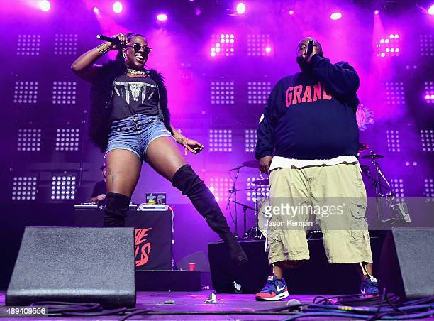 Rappers Gangsta Boo and Killer Mike of Run the Jewels perform onstage during day 2 of the 2015 Coachella Valley Music Arts Festival at the Empire...