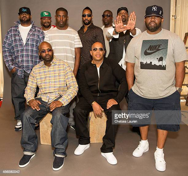 Rappers Ghostface Killah Method Man GZA RZA Inspectah Deck Cappadonna Raekwon Masta Killa and UGod of the WuTang Clan pose at a press conference to...