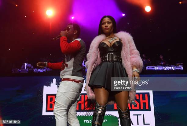Rappers Gucci Mane and Nicki Minaj perform onstage at Hot 1079 Birthday Bash Pop Up Edition at Philips Arena on June 17 2017 in Atlanta Georgia