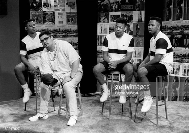 Rappers Heavy D And The Boyz on the set of 'The Mastersellers' television show in Gary Indiana in 1987