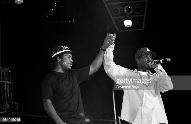 Rappers Ice Cube and MC Ren from NWA performs during the 'Straight Outta Compton' tour at the Mecca Arena in Milwaukee Wisconsin in June 1989