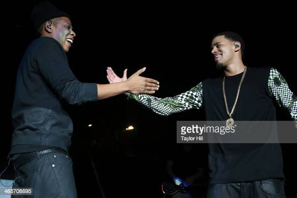Rappers J Cole and Jay Z perform in concert at Madison Square Garden on January 28 2014 in New York City