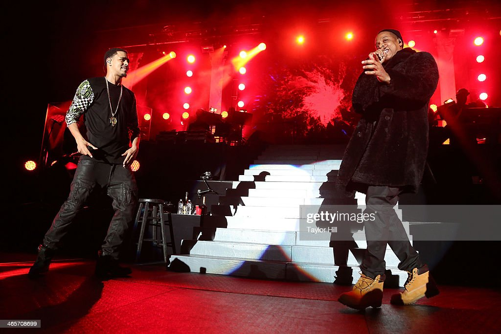Rappers J. Cole And Jay Z Perform In Concert At Madison Square Garden On  January
