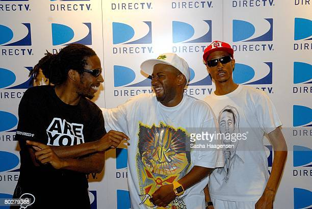 Rappers Jammer, Footsie and D.Double.E pose backstage at the DirecTV SXSW Live Broadcast on March 14, 2008 at the Austin Convention Center in Austin,...
