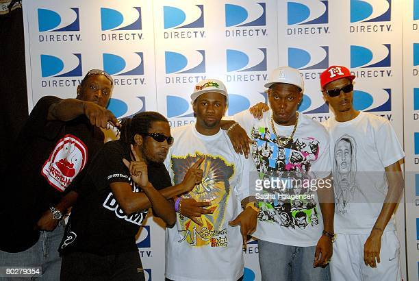 Rappers Jammer, Footsie, Dizzee Rascal Chrome, and D.Double.E pose backstage at the DirecTV SXSW Live Broadcast on March 14, 2008 at the Austin...