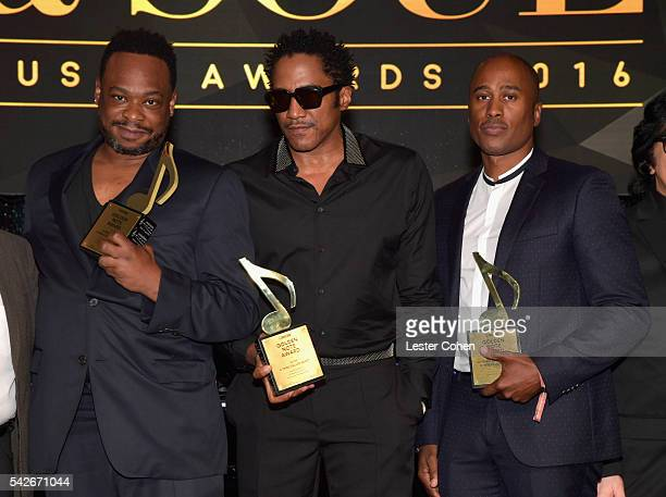 Rappers Jarobi White QTip and Ali Shaheed Muhammad of A Tribe Called Quest recipients of the ASCAP Golden Note Award pose at the 2016 ASCAP Rhythm...